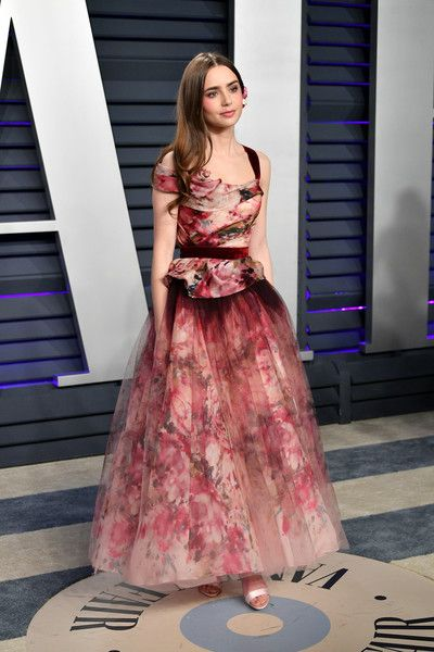 Lily Collins in Marchesa  Dress : 2019 Vanity Fair Oscar Party