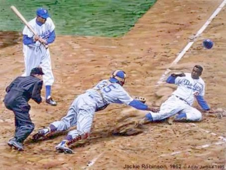 Jackie Robinson  stealing Home Plate
