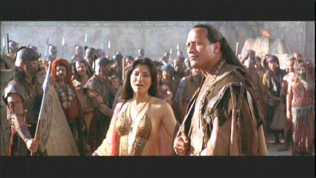 Cassandra Kelly Hu and The Rock in action adventure movie The Scorpion King - 2002 distributed by Universal Pictures