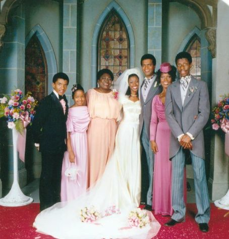 Ben Powers Portrait of the cast of the television show 'Good Times,' Los Angeles, California, August 3, 1978. Pictured from left, all in formal wedding attire, are American actors Ralph Carter, Janet Jackson, Esther Rolle, BernNadette Stanis