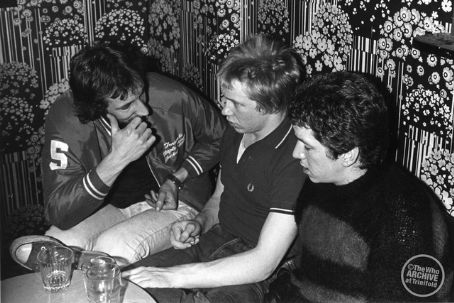 Paul Cook in 1978 with Pete Townshend and Steve Jones