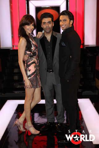 Karan Johar Ranveer Singh And Anushka Sharma In Koffee With Karan