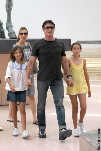 Sylvester Stallone  with his daughters