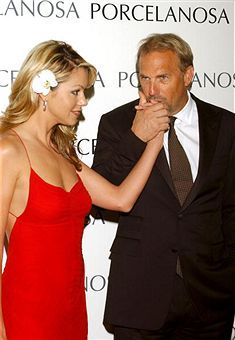 Christine Baumgartner and Kevin Costner