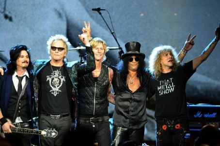 Gilby Clarke - Inductees (L-R) Gilbert Clarke, Matt Sorum, Duff McKagan, Slash and Steven Adler of Guns N' Roses, perform onstage during the 27th Annual Rock And Roll Hall of Fame Induction Ceremony at Public Hall on April 14, 2012 in Cleveland, Ohio