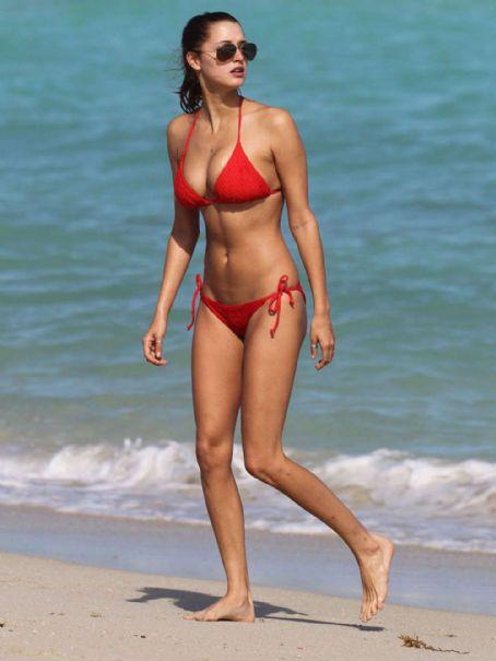 Alyssa Arce  - Red Bikini on the Beach