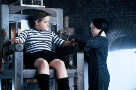 Wednesday Addams Christina Ricci and Jimmy Workman in The Addams Family (1991)