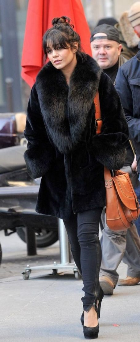 Vanessa Hudgens exits the Bon Marche after doing some shopping on Saturday (February 11) in Paris, France