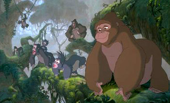 Tarzan The kind-hearted Kala and her gorilla brood in  in Disney's  - 1999