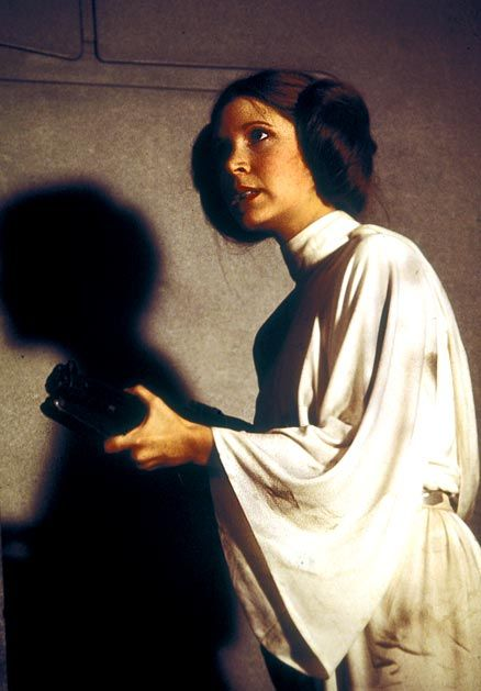 Carrie Fisher  as Princess Leia in Star Wars: A New Hope (1977).