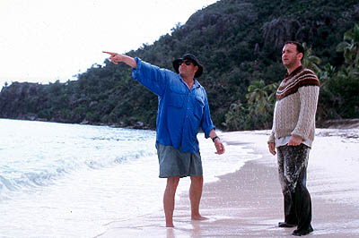 Cast Away Director Robert Zemeckis and Tom Hanks on the set of 20th Century Fox's  - 2000