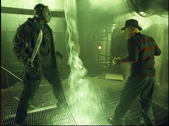 "Robert Englund (left to right) Ken Kirzinger as ""Jason"" and  as ""Freddy Krueger"" in New Line Cinema's upcoming Freddy Vs. Jason."