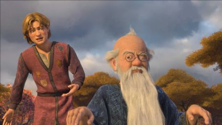 Eric Idle Artie (JUSTIN TIMBERLAKE) meets up with his former magic teacher (and now eccentric recluse) Merlin (ERIC IDLE) in DreamWorks' SHREK THE THIRD, to be released by Paramount Pictures in May 2007. DreamWorks Animation S.K.G. Presents a PDI/DreamWorks P