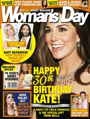 Chris Cairns, Kate Middleton, Angelina Jolie, Katy Perry, Russell Brand - Woman's Day Magazine Cover [New Zealand] (16 January 2012)