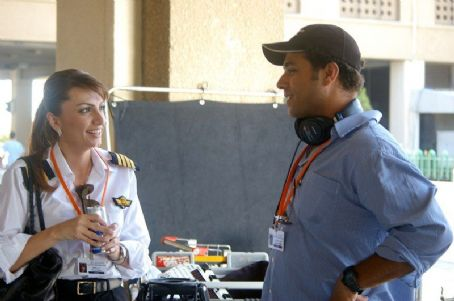 Rana Sultan with Director/writer Amin Matalqa on the set of Captain Abu Raed.