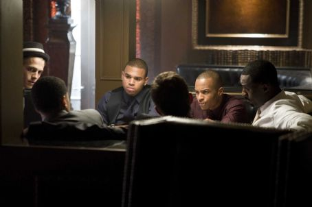 (l to r) Hayden Christensen, Chris Brown, Tip 'T.I.' Harris and Idris Elba star in Screen Gems' action thriller TAKERS. Photo By: Suzanne Tenner. © 2010 Screen Gems, Inc.  All Rights Reserved.