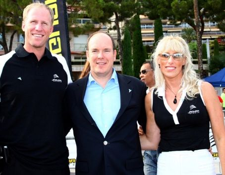Tracy Mattes Prince Albert II of Monaco with  & her brother Todd at the World Biathle Championships in Monaco
