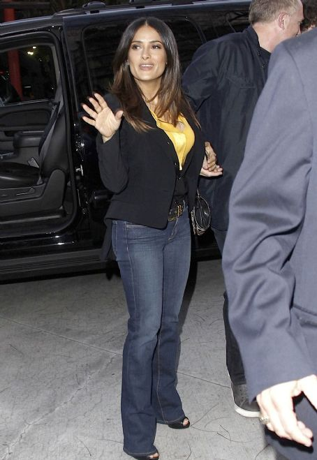 Salma Hayek: into the Staples Center to watch the Los Angeles Lakers take on the San Antonio Spurs