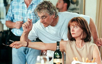The Banger Sisters Director Bob Dolman and Susan Sarandon on the set of Fox Searchlight's  - 2002