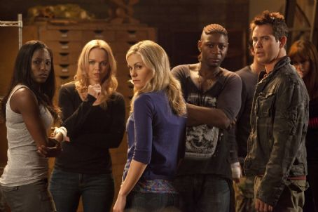 Lauren Bowles Anna Paquin as Sookie Stackhouse, Rutina Wesley as Tara Thornton, Nelsan Ellis as Lafayette Reynolds, Kevin Alejandro as Jesus Velasquez and Lauren  Bowles as Holly Cleary in True Blood (Fourth Season) (2011)