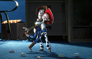 Woody meets his TV co-star Jessie the cowgirl in Disney's Toy Story 2 - 11/99