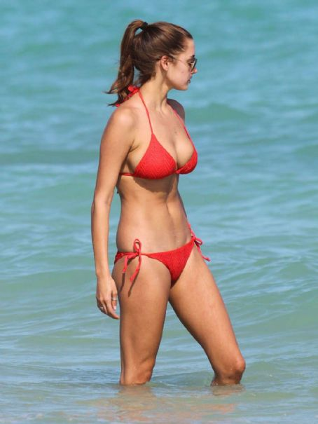 Alyssa Arce  - Red Bikini on the Beach