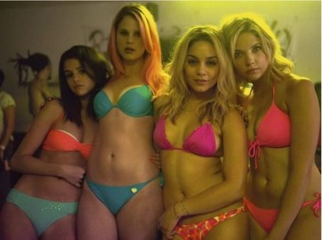 A new photo from Ashley Benson, Selena Gomez, and Vanessa Hudgens new film, Spring Breakers, has been released