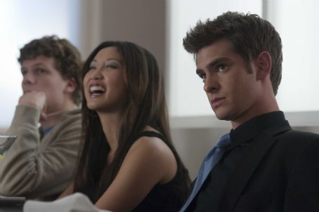 Eduardo Saverin L-r, Jesse Eisenberg, Brenda Song and Andrew Garfield in Columbia Pictures' 'The Social Network.' Photo By: Merrick Morton
