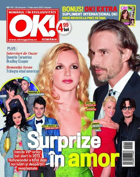 Britney Spears, Jason Trawick, Amber Heard, Johnny Depp, Rihanna, Chris Brown, Katy Perry, John Mayer - OK! Magazine Cover [Romania] (25 January 2013)