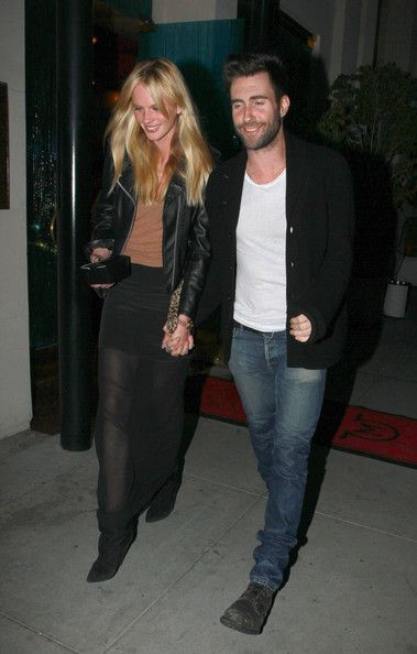 Adam Levine and Anne Vyalitsyna - Adam Levined out with his girlfriend Anne Vyalitsyna as they have dinner together at Mastro's Steakhouse in Beverly Hills