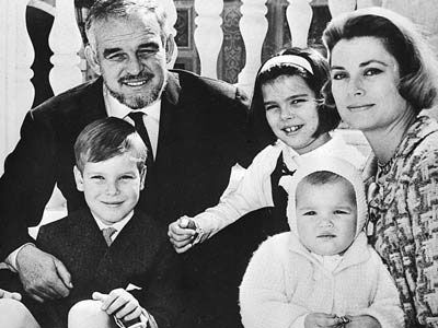 Princess Caroline of Monaco - Prince Rainier III of Monaco and Princess Grace, holding Princess Stephanie, pose with their children on the palace steps in Monaco, in April 1966. At left foreground is Prince Albert, the second-oldest, and at centre is Princess Caroline.