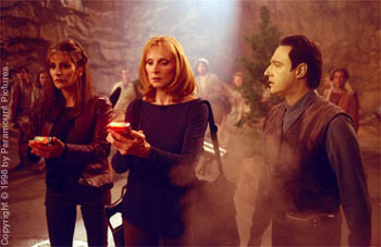 Gates McFadden Marina Sirtis,  and Brent Spiner in Star Trek: Insurrection