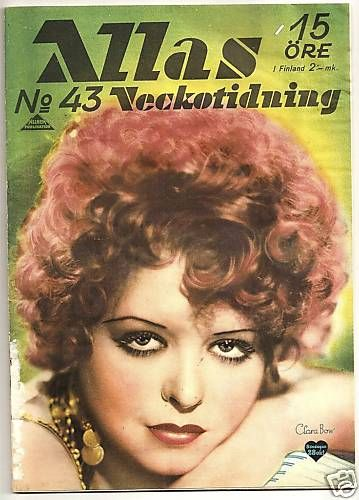 Clara Bow - Allas Veckotidning Magazine [Sweden] (October 1934)