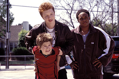Orlando Brown Alex D. Linz as Max, Noel Fisher as bully Troy McGinty and  as Dobbs in Disney's Max Keeble's Big Move - 2001