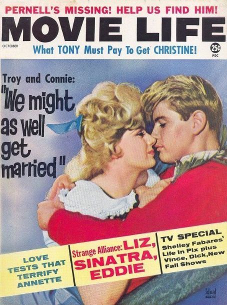Connie Stevens, Troy Donahue - Movie Life Magazine Cover [United States] (October 1962)