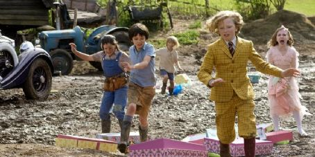 Asa Butterfield Lil Woods as Megsie Green,  as Norman Green, Oscar Steer as Vincent Green, Eros Vlahos as Cyril Gray and Rosie Taylor-Ritson as Celia Gray in Nanny McPhee Returns.