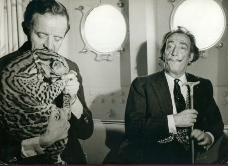Salvador Dalí Dali and Capitain Moore with an Ocelot