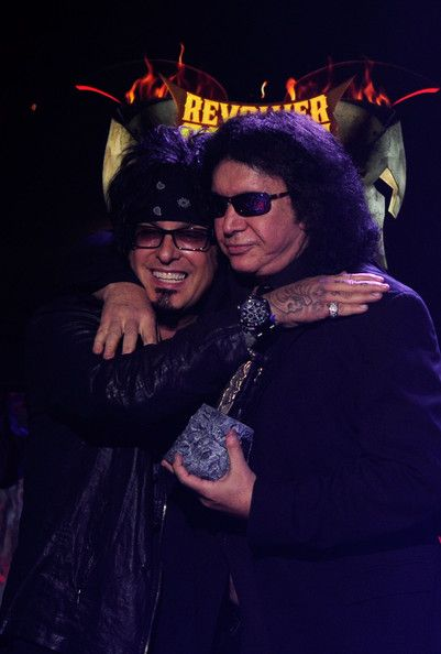 Musicians Nikki Sixx and Gene Simmons on stage during the 2012 Revolver Golden Gods Award Show at Club Nokia on April 11, 2012 in Los Angeles, California
