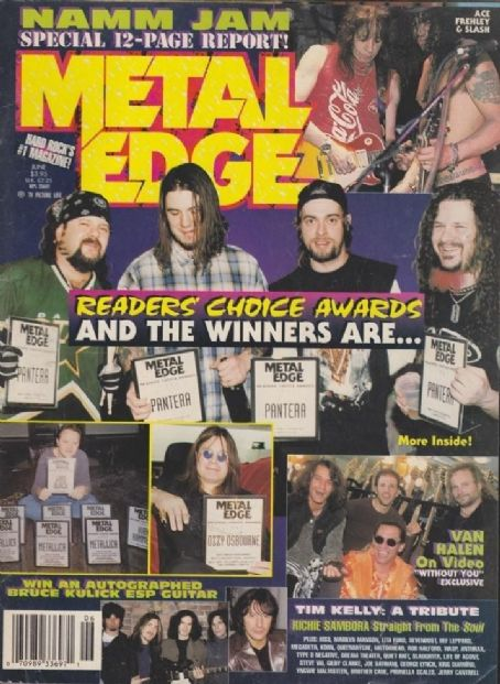 Rex Brown, Vinnie Paul, Dimebag Darrell, Phil Anselmo - Metal Edge Magazine Cover [United States] (June 1998)
