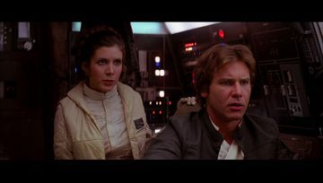 Princess Leia Carrie Fisher and Harrison Ford in Star Wars: Episode V - The Empire Strikes Back (1980)