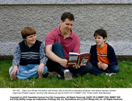 Diary of a Wimpy Kid  author Jeff Kinney, who is the film's executive producer, and actors Zachary Gordon (right) and Robert Capron, bond on the Vancouver set of DIARY OF A WIMPY KID. Photo credit: Rob McEwan