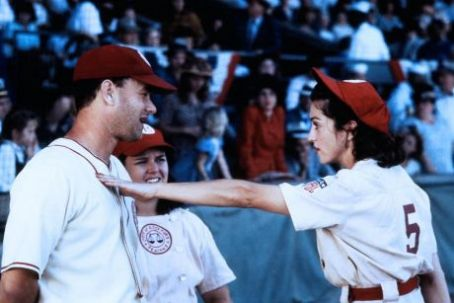 Rosie O'Donnell - Rosie O'Donnell as Doris Murphy, Tom Hanks as Jimmy Dugan and Madonna as Mae Mordabito in A League of Their Own (1992)