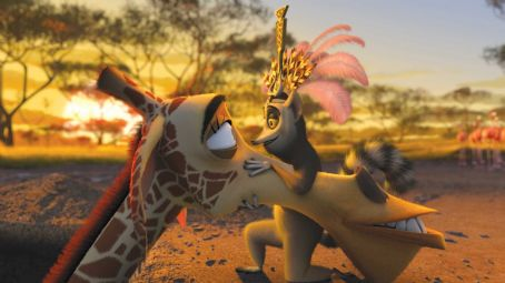 "Melman (Left to right)  the giraffe (DAVID SCHWIMMER) gets a lesson in how to woo from King Julien (SACHA BARON COHEN) in DreamWorks' ""Madagascar: Escape 2 Africa."" Photo credit: Madagascar: Escape 2 Africa ™ & © 2008 DreamWorks Animation"