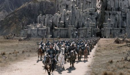 'Aragorn' (Viggo Mortensen) leads his troops from Minas Tirith in New Line Cinema's epic film, The Lord of the Rings: The Return of the King.