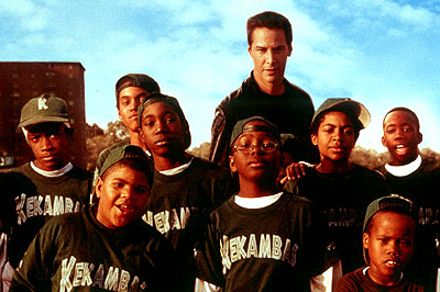 Michael B. Jordan Front row: Julian Griffith, Brian Reed, DeWayne Warren; Middle Row: Bryan Hearne, , Michael Perkins and A. Delon Ellis Jr.; Back row: Alexander Telles and Keanu Reeves in Paramount's Hardball - 2001