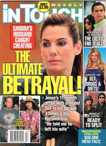 Sandra Bullock, Jessica Biel, Justin Timberlake, Kourtney Kardashian - In Touch Weekly Magazine Cover [United States] (29 March 2010)