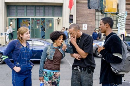 Affion Crockett (Left to right) Megan (Shoshana Bush), Charity (Essence Atkins), A-Con () and Thomas (Damon Wayans, Jr.) tell tales out of school in the comic spoof 'Dance Flick.'