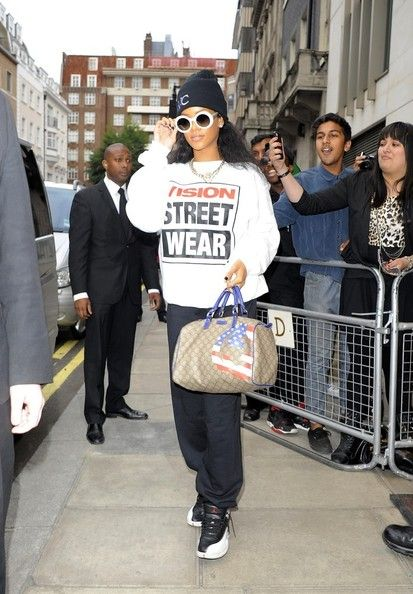Rihanna way to a recording studio in East London
