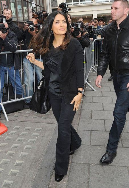 Salma Hayek: visit to BBC Radio 1 Studios in London
