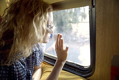 Penny Lane On the Stillwater tour bus,  (Kate Hudson) looks out at the fans awaiting the group's arrival in Dreamworks' Almost Famous - 2000